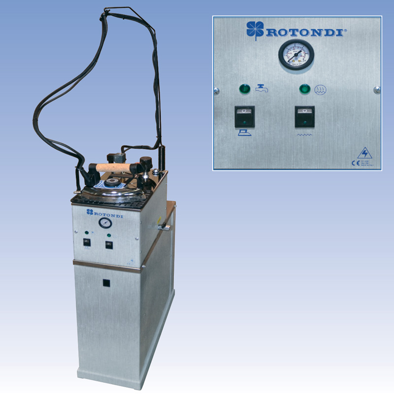 Semi-automatic steam generator with boiler in stainless steel.